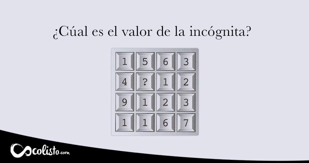 Acertijo lógico de solución matemática.