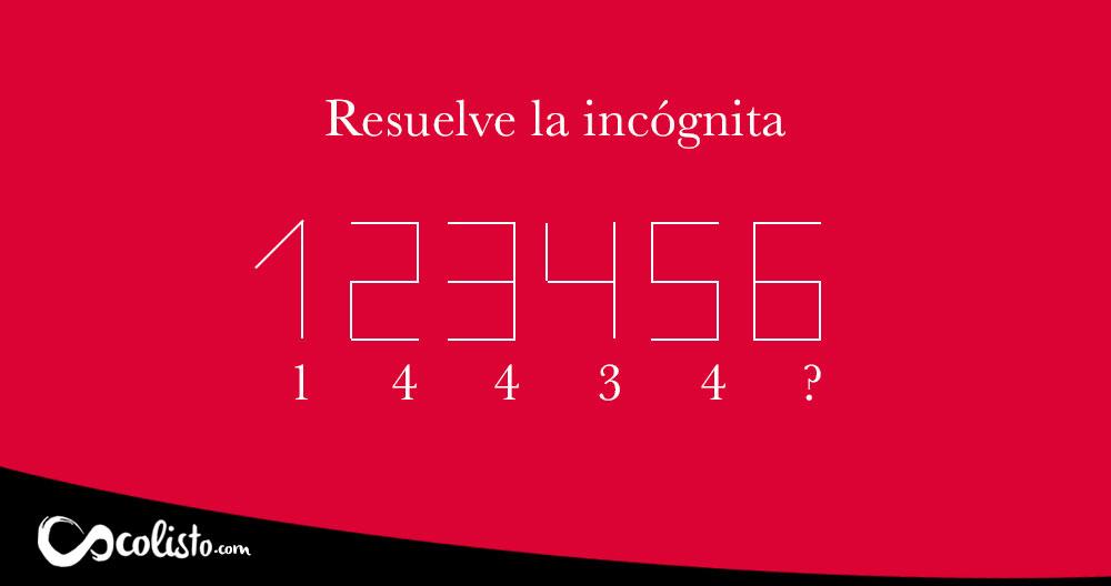Resuelve la secuencia numérica descubriendo la incógnita.